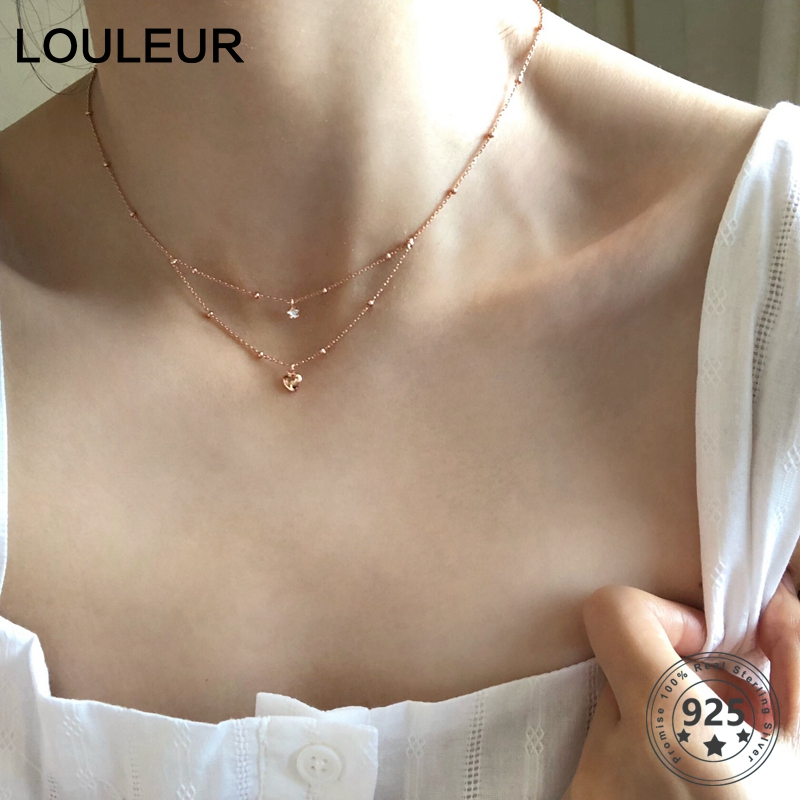 Louleur 925 Sterling Silver Double Layer Necklace Elegant Zircon Pentagram Star Heart Pendant Necklace For Women Jewelry Charm