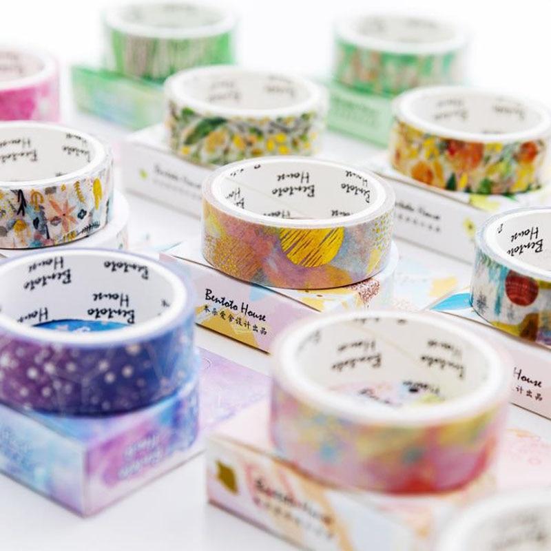 1 Pcs Colorful Laser Gilding Flower Forest Dream Starry Sky Masking Washi Tapes DIY Scrapbooking Sticker Label School Stationery