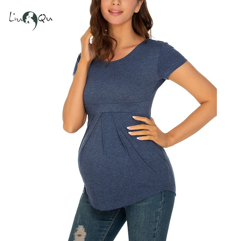 Maternity Summer Tops Women Pregnancy Short Sleeve T-Shirts Vogue Tees for Pregnant Elegant Ladies Top Cute Women Clothings