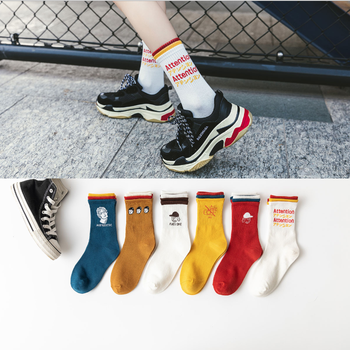 Character cotton round neck letter socks male letter cool hip hop Harajuku skateboard spring and autumn long couple socks цена 2017