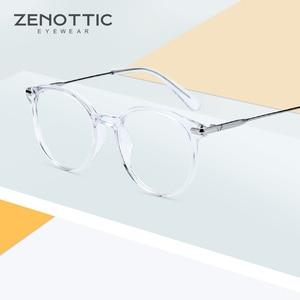 Image 2 - ZENOTTIC Ретро ацетатные круглые очки в оправе женские прозрачные оптические очки для близорукости винтажные ультралегкие очки