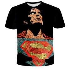 2021 novo verão de manga curta superman impresso 3d aptidão t camisas o-pescoço macio sólido algodão elástico respirável masculino oversize t