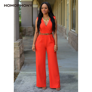 Image 4 - HOMOPHONY Women High Waist Jumpsuit Office Ladies Elegant Party Solid V neck Playsuit Summer Sleeveless Evening Party Jumpsuit