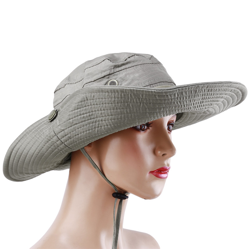 Solid Color Sun Hats For Men Outdoor Fishing Cap Wide Brim Anti-UV Beach Caps Women Bucket Hat Summer Camping Trekking