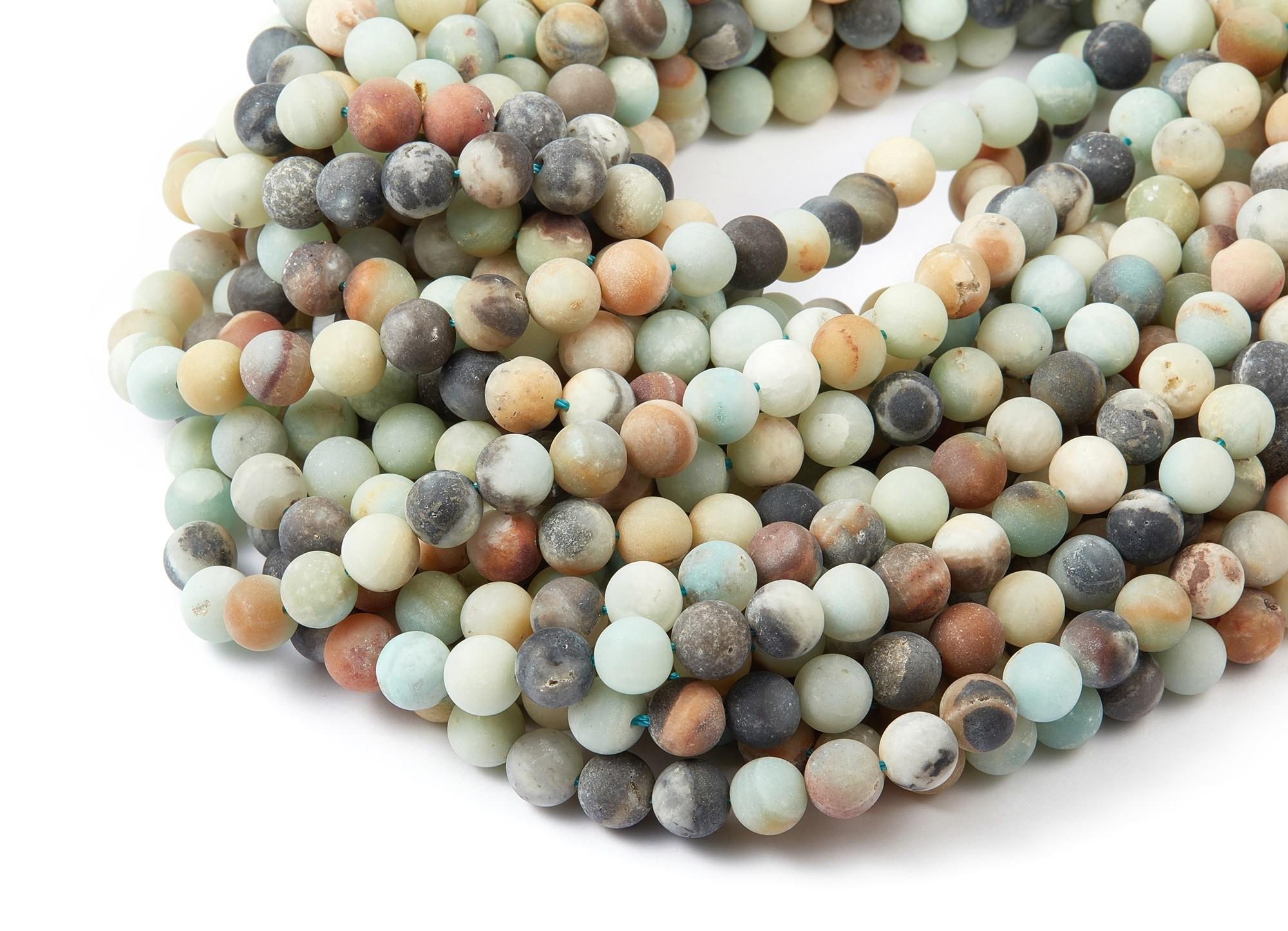 """Round Gemstone Beads - Matte China Amazonite Beads - 15.15"""" / 49PCS / 1 Strand - 8x8mm - Gemstone Beads - NS1012B"""
