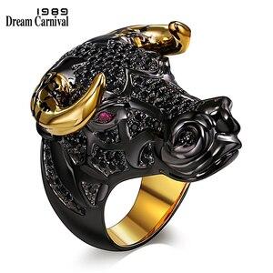 Image 1 - Dreamcarnaval 1989 gros taureau noir avec des cornes de couleur dorée Punk Hip Hop CZ grand anneau pour unisexe hommes femmes mode de rue SR2314