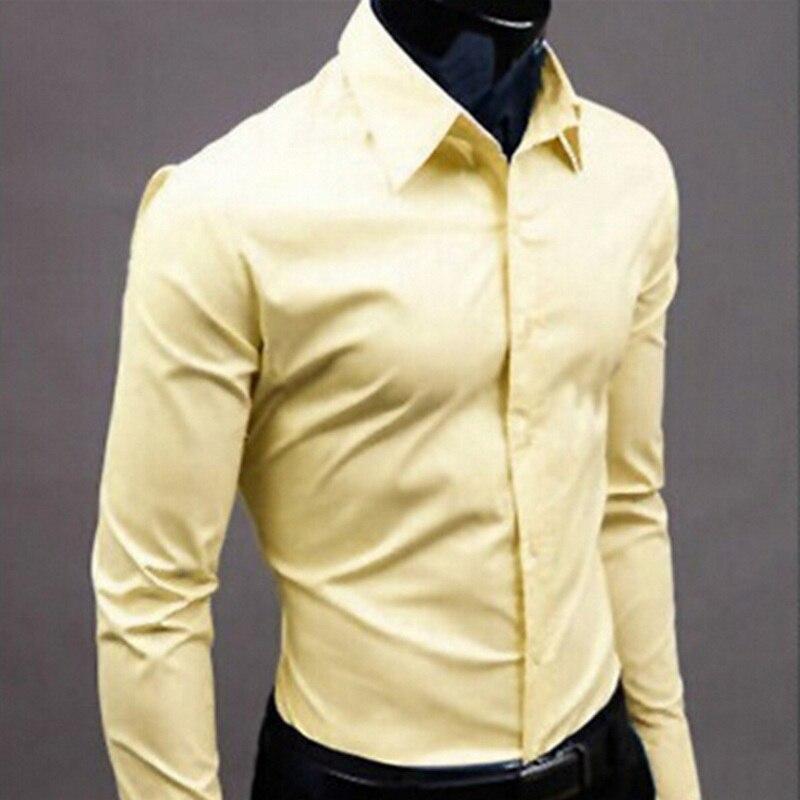 2019мужская рубашка с длинным рукавом, модные мужские повседневные рубашки, хлопок, сплошной цвет, Бизнес Стиль, приталенная, Social 7006