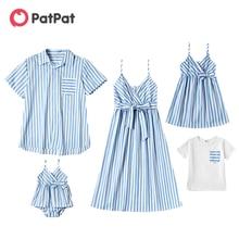 Patpat nova chegada verão 2021 mosaico família combinando roupas azul e branco listra série define família olhar vestido