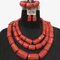 4UJewelry 13mm 20mm Coral Beads African luxury Bridal Jewelry Sets For Nigerian Weddings 3 Layers Dubai Necklace Bracelet Earrings Set Tribal Traditional Wedding