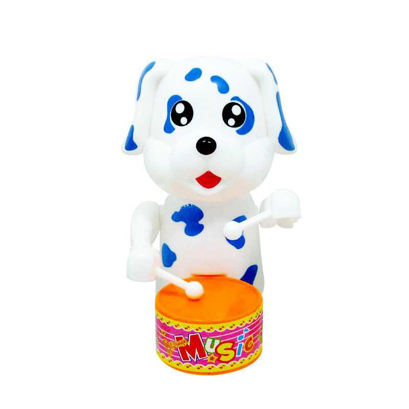 Winding Drum Dog Spring Cartoon Animal Hot Selling Children'S Educational Plastic Wind-up Toy Stall Night Market Wholesale
