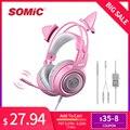 SOMIC G951s PS4 розовые наушники с кошачьими ушками и шумоподавлением 3 5 мм разъем для девочек  детская игровая гарнитура с микрофоном для телефон...