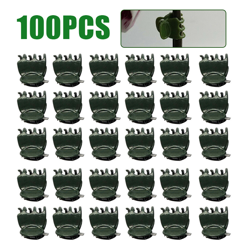 100Pcs/Bag 1.5cm Plant Support Clips Plastic Garden Clips Flower Orchid Stem Clips For Vine Stems Stalks Grow Upright Support