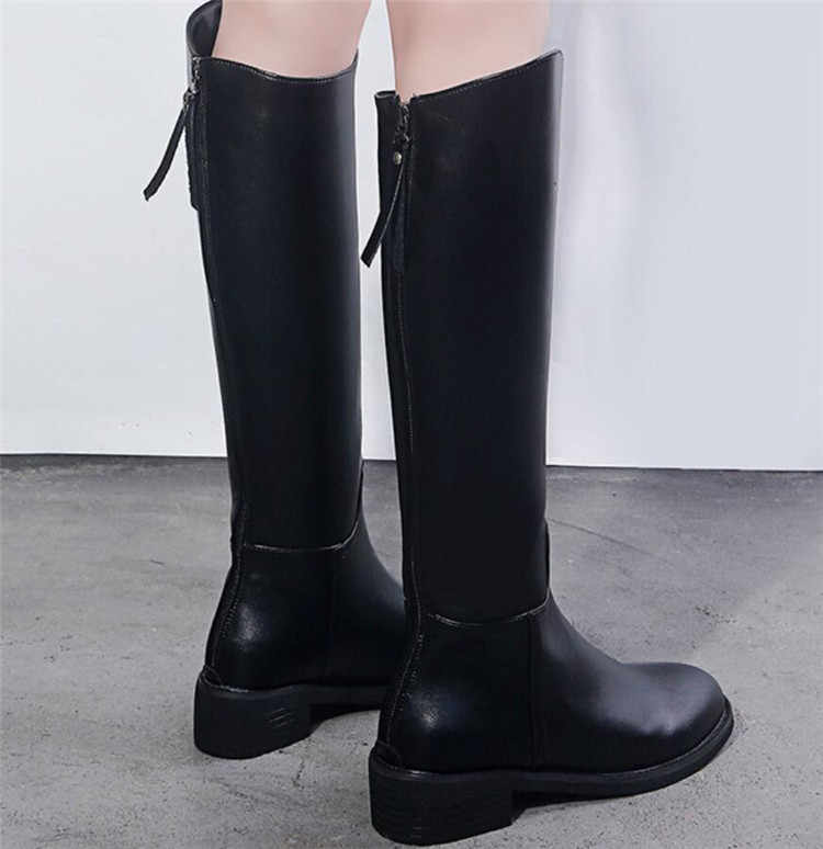 Women boots winter ladies Round head warm Thick heel Martin boots fashion Rear Zip Long tube Knight boots woman shoes Z466