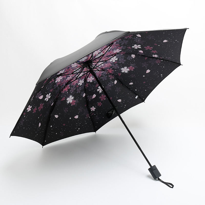 New Style Parasol Rain Or Shine Dual Purpose Manual Vinyl Umbrella Wholesale Summer Three Fold UV-Protection Sun-resistant Vinyl