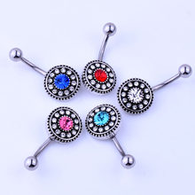 Vintage Flower Belly Button Ring Body Jewelry Women Crystal Navel Piercing Ombligo Sexy Pircing Nombril Nipple Septum Ring(China)