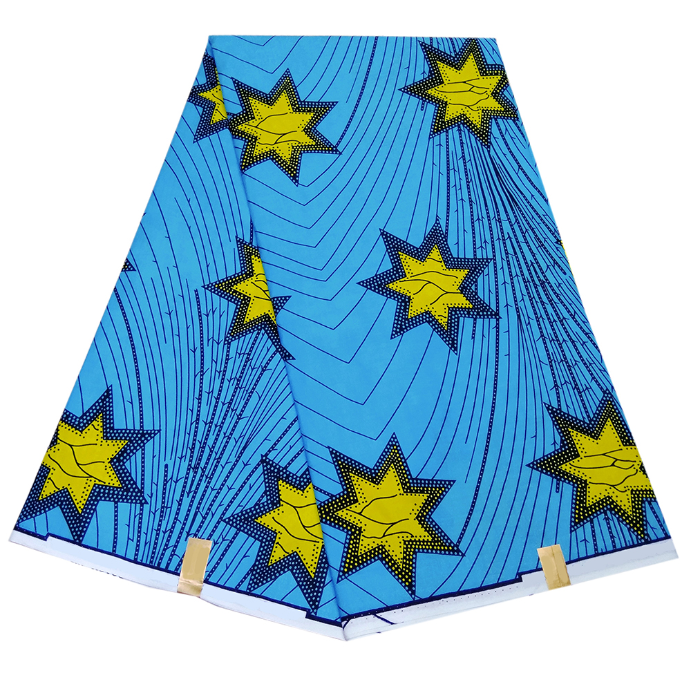 African-Fabric Dress Dutch-Wax for Veritable Sky-Blue Stars Yellow 100%Cotton