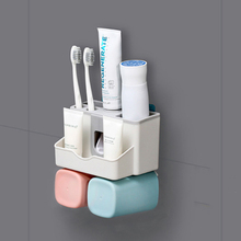 Couple Family Toothbrush Holder Tooth Cup Automatic Toothpaste Dispenser Bathroom Accessories Punch Free Home Storage Rack