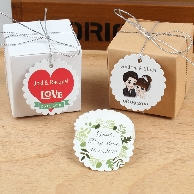 Personalized LOGO Wedding custom Label Candy bag tags anniversary Party Favors Labels supplies gift tags wedding favor