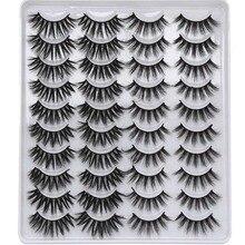 20คู่ผสม3D MinkขนตาปลอมขนตาปลอมธรรมชาติWispy Criss Cross Fluffy Eyelash Soft Handmadeโหดร้ายฟรีขนตา