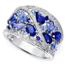 Ustar роскошные свадебные кольца с синим фианитом для женщин