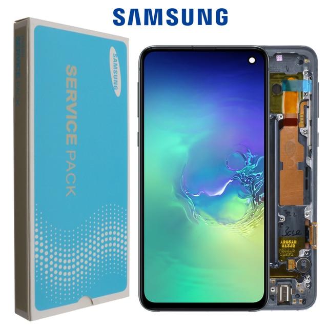 100% Original AMOLED ที่มีกรอบสำหรับ SAMSUNG Galaxy S10E G970F/DS G970U G970W SM G9700 จอแสดงผล Touch Digitizer