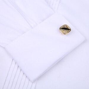 Image 3 - Camisas de esmoquin para hombre, Vestido de manga larga para boda, gemelos franceses, dobladillo con diseño de botones oscuro, camisa de caballero blanca, roja, negra