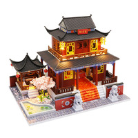 Chinese Building House Model Miniature Dollhouse Furniture Led Lights Accessories 3D Wooden Puzzle Toy Children Christmas Gift
