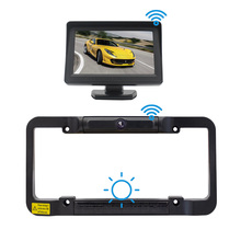 Solar Powered Wireless Rear View Backup Camera Digital US License Plate Frame for Car Truck Bus Trailer