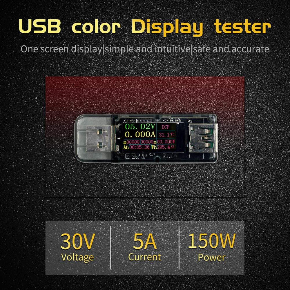 5A USB Tester Color Screen Voltage Ammeter Power Capacity Fast Charge Protocol Charge
