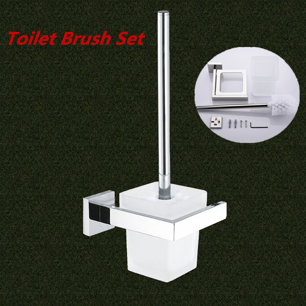 New Toilet Brush Set with Holder Bathroom Accessories Stainless Steel Cleaning Tool WC Brush & Holder Set Practical Toilet Brush