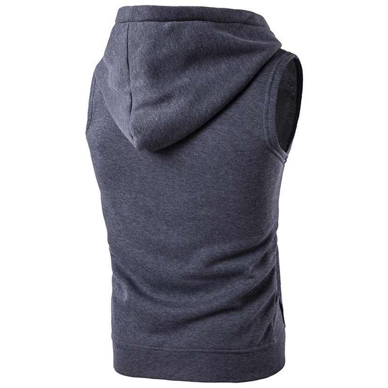 MoneRffi 조끼 패션 솔리드 민소매 후드 가디건 자켓 가을 봄 지퍼 포켓 남성 조끼 캐주얼 조끼 탑스