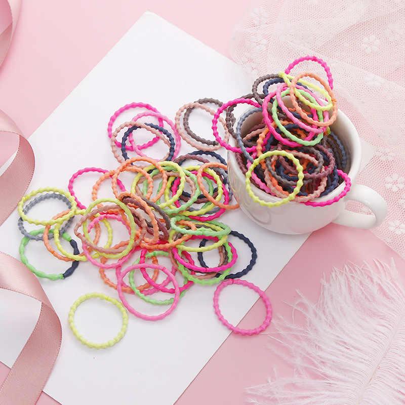 10/50Pcs หญิงเกลียวที่มีสีสันผมยืดผมผู้ถือหางม้าเด็กน่ารักยาง Band Hairbands Scrunchies อุปกรณ์เสริมผม