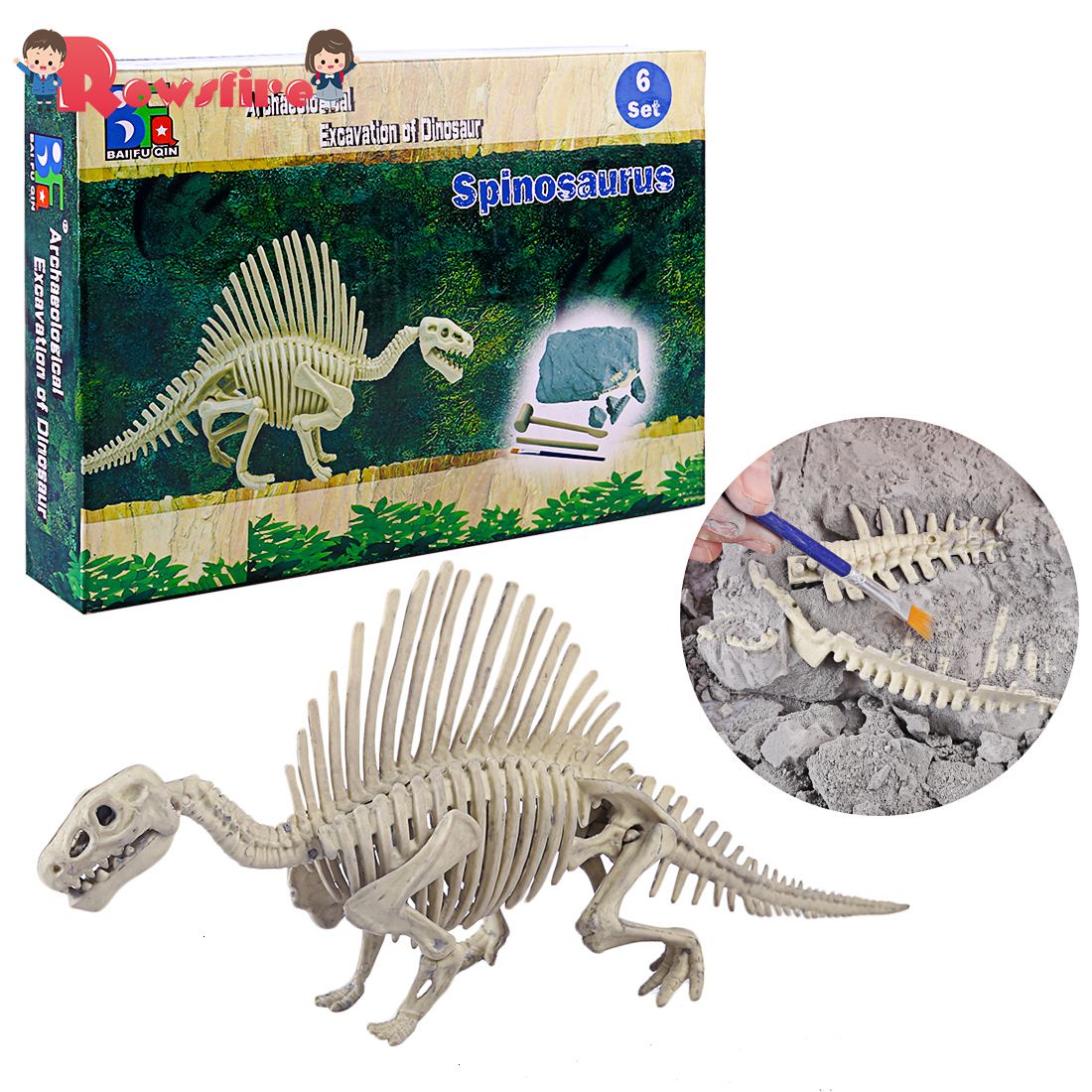 New Children Creative Educational Dinosaur Archaeology Excavation Toys - Spinosaurus  Ceratosaurus