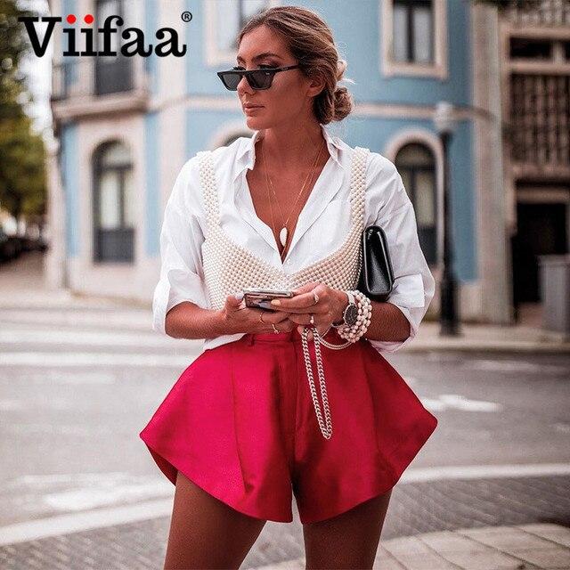 Viifaa Apricot High Waist Pleated Wide Leg Flared Shorts Women Fashion Summer Spring 2020 Ladies Sexy Mini Shorts 2