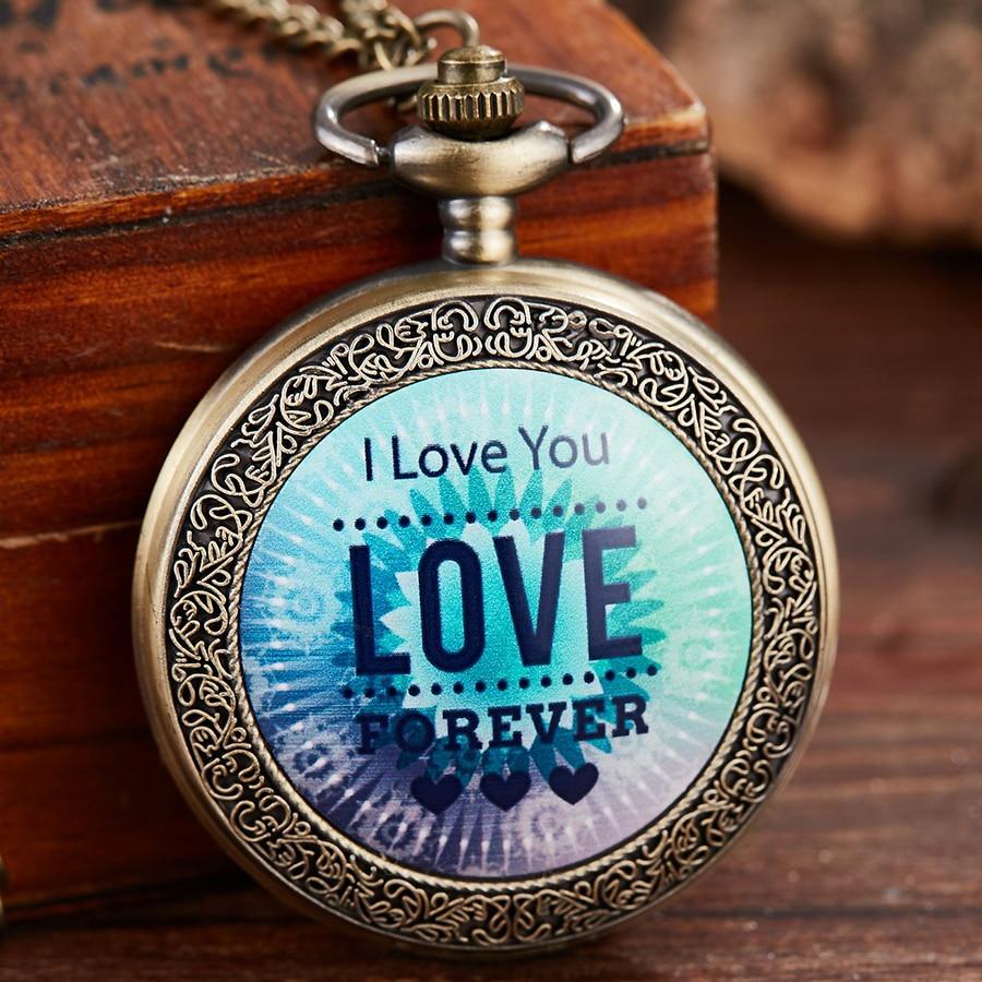 Retro Quartz Pocket Watch I Love You Engraved Fob Watches Forever Love Best Gift For Lover Men Women Clock Chain Pendant Reloj