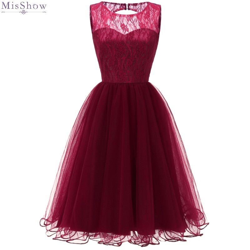 Cocktail Dresses Knee Length 2020 Burgundy Tulle Short Formal Party Gown Elegant A Line Lace Sleeveless robe coctail 2019