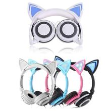 Personal lovely Cat Ear Headphones Luminescence Foldable Headset Stereo Sound  Wired Headphone for Live video chat
