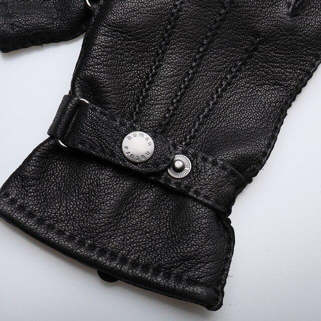 Мужские перчатки,черные теплые зимние перчатки из натуральной кожи с кнопкой 3