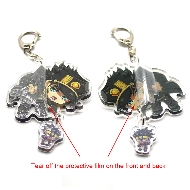 Anime Keychain JoJo Bizarre Adventure Man Key Chain for Women Accessories Cute Bag Pendant Key Ring Acrylic Cartoon Friends Gift 2