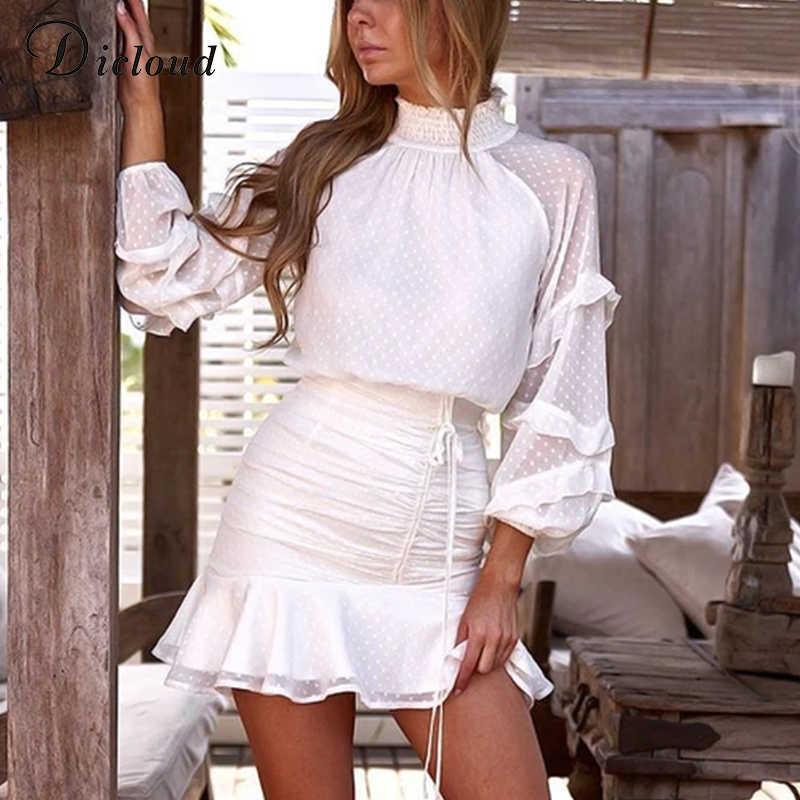 Dicstrong élégant col roulé femmes robe à volants automne 2019 blanc point à manches longues Sexy plissé Mini fête robe moulante hiver