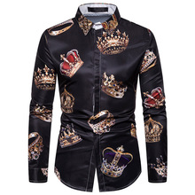 Autumn Fashion Mens Casual Dress Shirts Men 3D Crown Print Long Sleeve Shirt Wedding Party Social Camisa Masculina