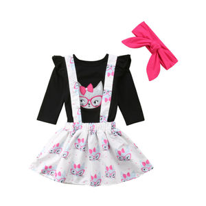3 предмета, Милая Черная футболка с длинными рукавами и принтом совы для маленьких девочек топы, юбка на бретелях, платье, одежда для детей от...