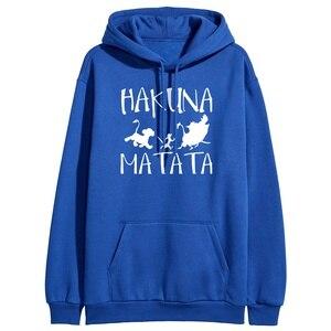 Women Soild Color Hooded Sweatshirts Female Black Winter Fleece Warm Hoodies Pullover Hakuna Matata Print Loose Tracksuits
