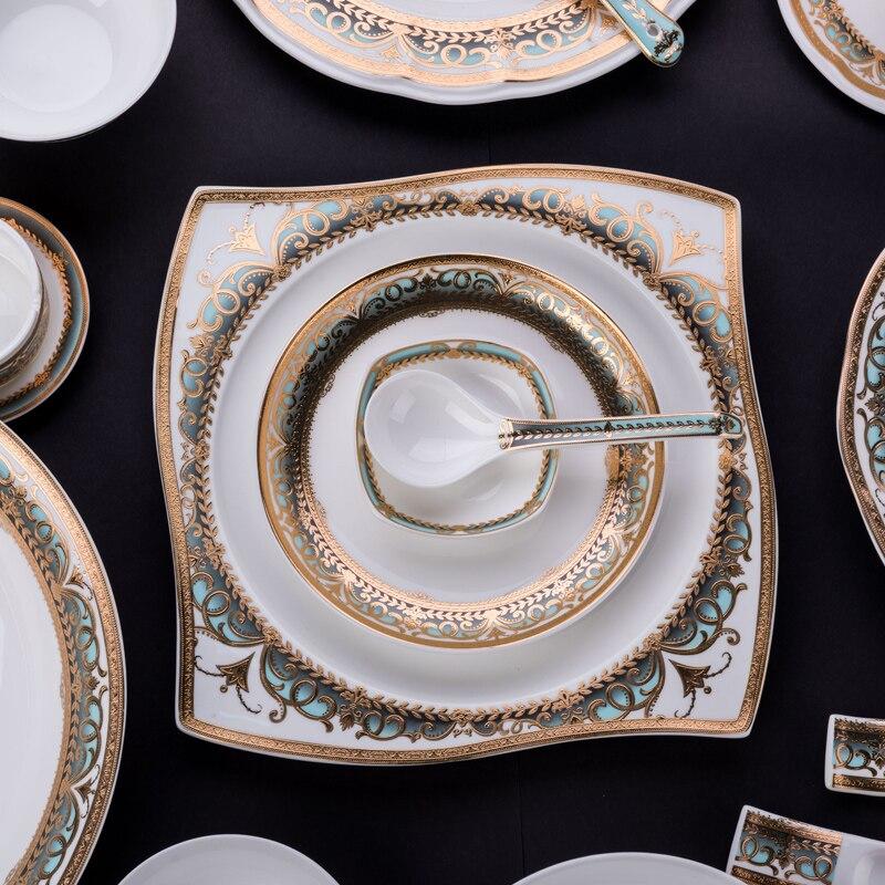 Assiette en porcelaine vaisselle de haute qualité | Service de table ménage bol de riz, assiette en céramique, cuillère cadeau de pendaison de crémaillère