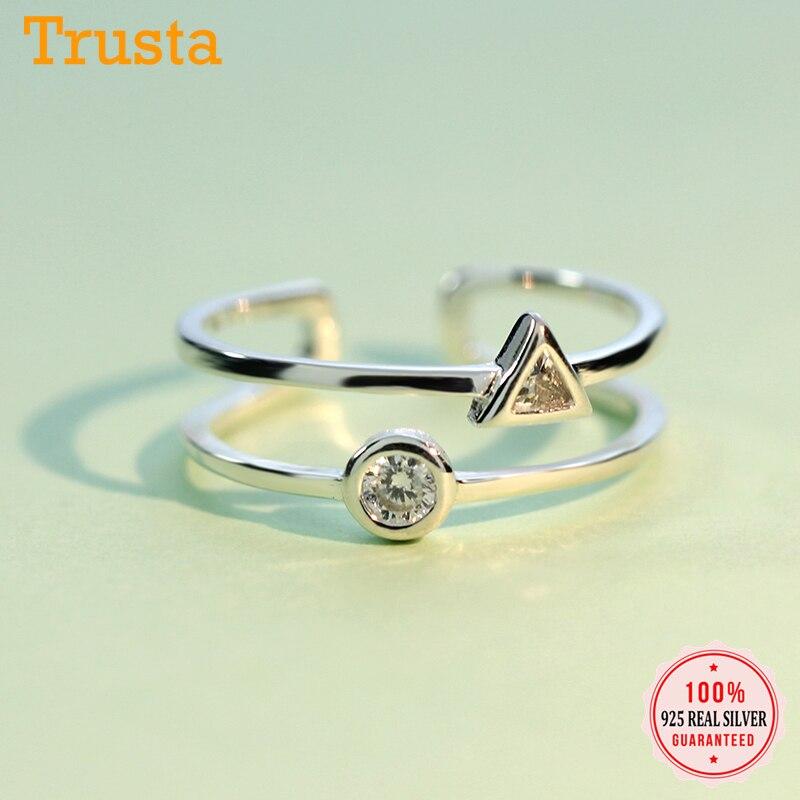 Trustdavis oryginalna 925 Sterling Silver Fashion podwójna warstwa okrągły trójkąt CZ regulowany pierścień dla kobiet S925 pierścień biżuteria DS721