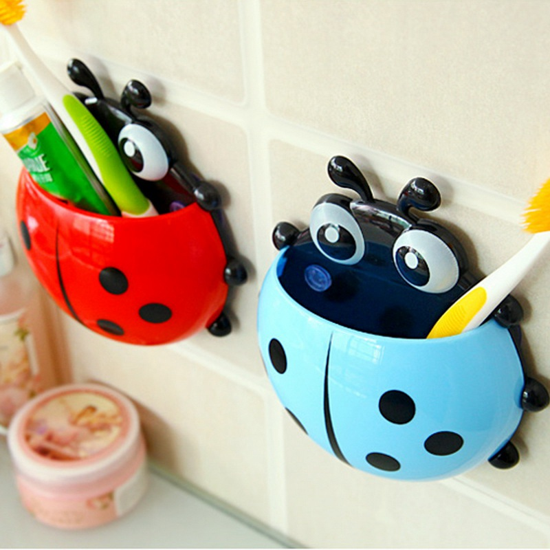 4pcs Colorful Ladybug Toothbrush Holder Toothpaste Bathroom Sets Tooth Brush Container Ladybird Strong Suction for Firm Fixation image