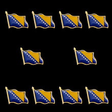10PCS Euro Bosnia and Herzegovina Unique Waving Flag Brooch Badge Brooch European Country Special Pin Badge