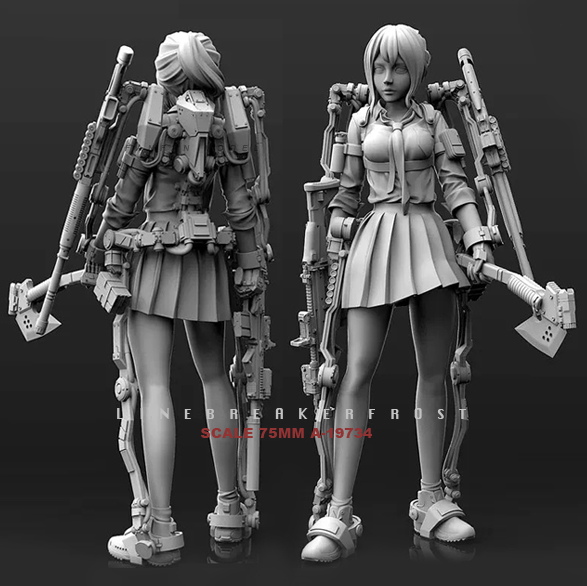 1/24  Resin Kits Mech Derailed Beauty ShooterNewOne Self-assembled  (75mm) A-19734