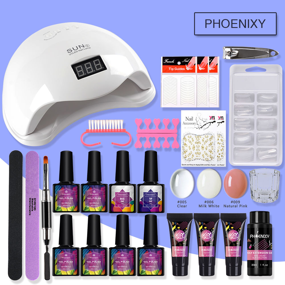 Manicure Set Extend Builder Poly Gel Kits Nail Extension UV Acrylic Builder Gel 48W UV LED Lamp Nail Gel Polish Set Nail Kit