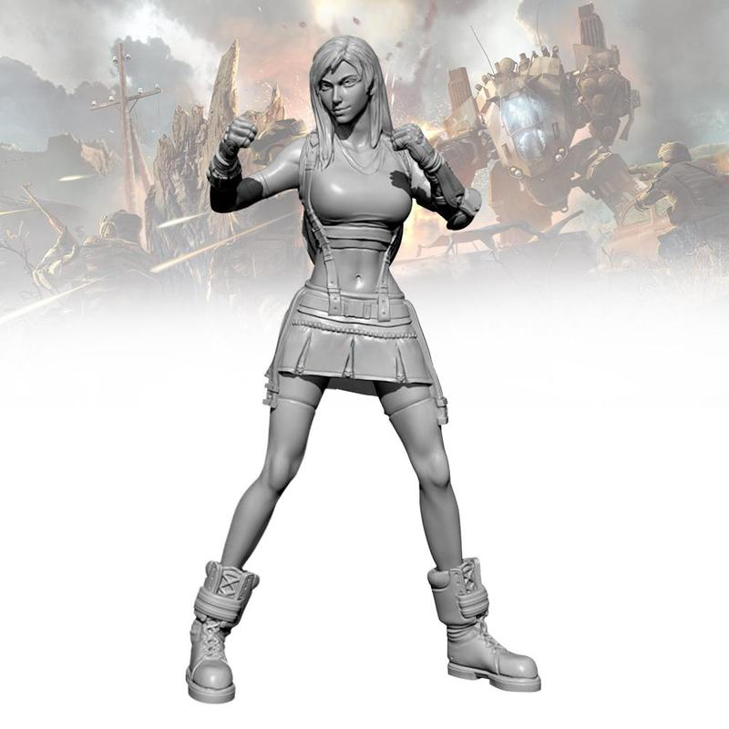 <font><b>1/24</b></font> <font><b>75MM</b></font> <font><b>Resin</b></font> <font><b>Model</b></font> <font><b>Kits</b></font> Fighter King Girl Soldier Self-assembled <font><b>Resin</b></font> <font><b>Model</b></font> Children Handmade Toys TD-202028 image